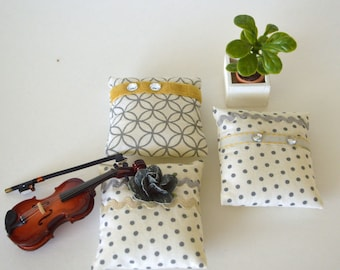 """1/6 scale pillows_playscale dollhouse throw pillows_doll furniture accessory_mid century_modern_for 10"""" to 12"""" dolls."""