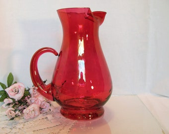 Tall Cranberry Red Pitcher Made by W. Virginia Glass Hand Blown