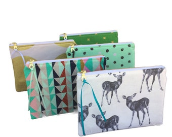 Set of ANY 5 PURSES - Choose any 5 pouches of your choice! -Bridesmaid Gifts,  Zipper Pouch, Zip Purse, Cosmetic Pouch, Zippered Pouch