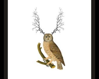 Golden Owl with Thorn Antlers Printable Art Print