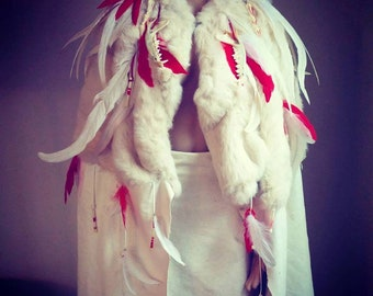 Barbarian Queen Cloak Upcycled Handmade Leather Cape Bones Feathers Tribal Burning Man Warrior White Red Fur Renaissance Faire Viking