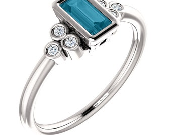 London Blue Topaz Baguette Gemstone White Sapphire Engagement Ring, Valentine Gift for her