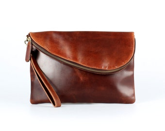 Leather Fold Over Clutch, Evening Bag, Wristlet, Mid Brown