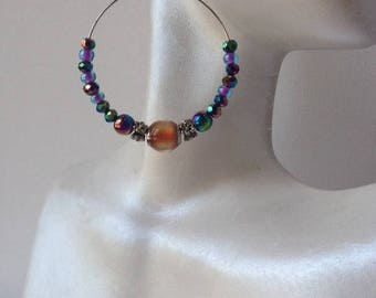 Sale, Mood Hoops, Rainbow Silver Hoop Earrings, Rainbow Hemalyke Hoops, Color Changing Hoop Earrings