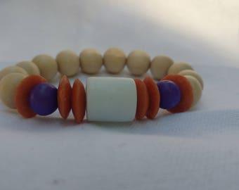 Orange and White Glass Bracelet