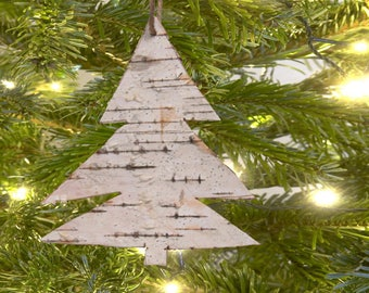 White Birch Bark Tree Shaped Ornament