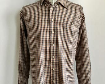 Vintage Men's 80's Checkered Shirt, Long Sleeve, Button Down by NYSE (L)