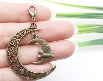 Own Charm ,Antique Bronze Filigree Crescent Moon Pendants Bunny Moon Charms Antique Bronze Tone 32x38mm