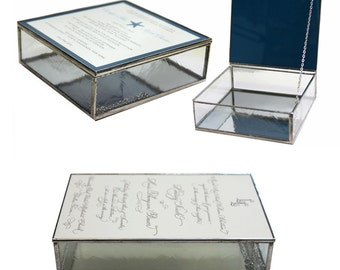 Glass Wedding Invitation Keepsake Box in Five Choices of Clear Textured Glass