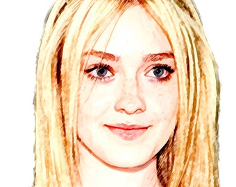 Dakota Fanning Portrait Instant Digital Download Art Print Paper Canvas Transfer