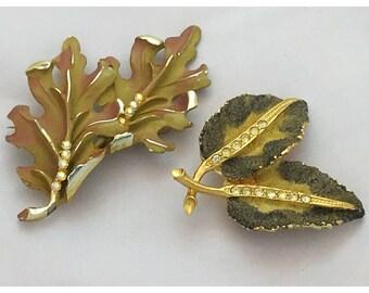 Autumn Oak Leaf Brooch, Autumn Leaves Brooch, set of 2 Fall Leaf Pins, BSK Oak Leaves Brooch