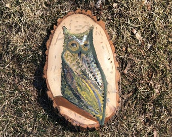Night Owl, Wood Art, Owl Decor, Owl lovers original art gift, One of a kind, Natural Wood Round Art, For the Camo lover, Rustic, Farmhouse