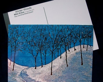 "Winter Woods (print reproduction/postcard) 5"" x 7"" by Mike Kraus FREE SHIPPING!"