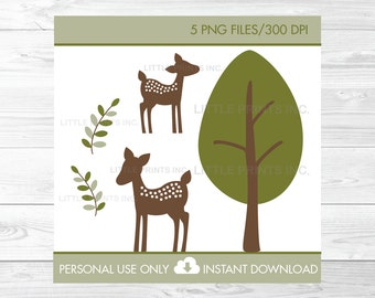Cute Deer Clipart / Deer Baby Shower / Woodland Baby Shower / Woodland Deer Clipart / PERSONAL USE Instant Download A262
