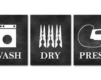 Wash Dry Press - Laundry Room Art - Set of Three PRINTs - Laundry Room Decor - Laundry Room Wall Art - Laundry Poster Set
