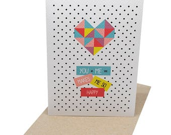 Love Greeting Card | Geometric Heart You + Me | Anniversary Card | Valentine's Day Card | Missing You Card | Card for Girlfriend | HVD011