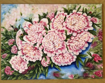 Peony painting 'Peony', original floral oil painting of summer flowers, oil on canvas 75x102cm