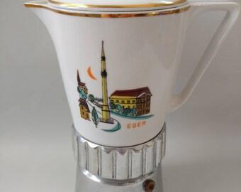 MCM Moka Pot Vintage Coffee Maker Eger Hungary Ceramic