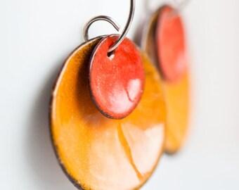 Fun Big Bold Orange Earrings | Copper Enamel Discs | Handmade Sterling Silver Wires | Dangle Earrings | Modern Hippie Jewelry | Bright Color