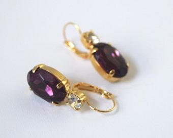 Purple Rhinestone Earrings, Amethyst Crystal, Dark Purple Earrings, Purple Bridesmaid, Purple Wedding Earring, Amethyst  Regency Jewelry