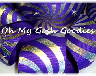 """PSYCHEDELIC HOLOGRAM PURPLE Silver Grosgrain Tic Toc Cheer Ribbon - 3""""  - 5 Yards - Oh My Gosh Goodies Ribbon"""