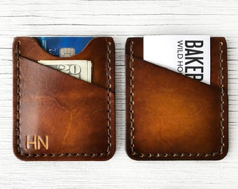 Personalized Leather Wallet, Leather Front Pocket Slim Wallet - BUY IT ONCE - Custom Initials Mens or Womens Wallet,  Thin Minimalist Wallet
