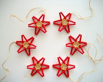 Red Star Ornaments Hand Beaded Holiday Decoration 6 Pieces