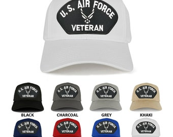 US AIR FORCE Veteran Wings Large Embroidered Patch Adjustable Baseball Cap (27-079-PML125)