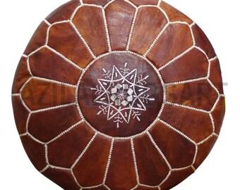 Moroccan dar oiled tan leather poufs/handmade pouf