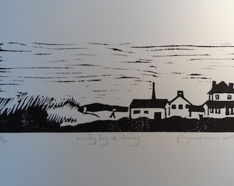 A Windy Day at Allonby - original, limited edition, linocut print by Polly Marix Evans