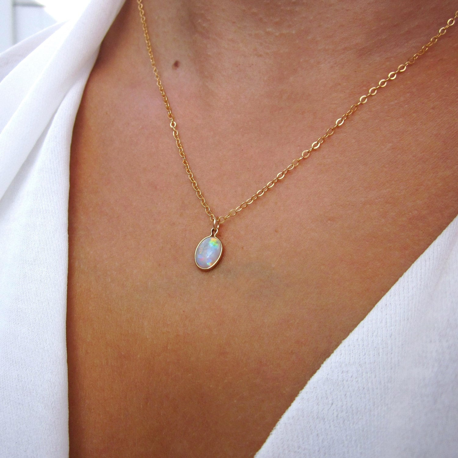 genuine tear pink white pin opal necklace