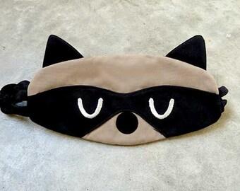 Raccoon Sleep Mask Raccoon Eye Mask Cute Animal Sleeping Mask Bandit Mask Travel Sleep Eyemask Flight Eye Cover Shield Blindfold BEIGE BLACK