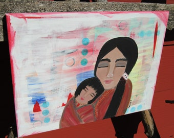 native art mother child hugs colorful art original canvas painting acrylic long black hair woman and child metis native painting