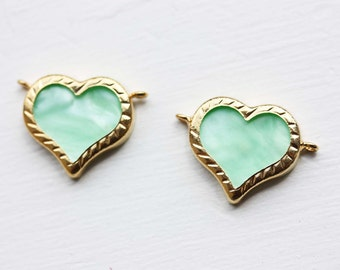 Connector Heart Charms, Green Connector, Connector Charm, Heart Charm, Green Heart Charm