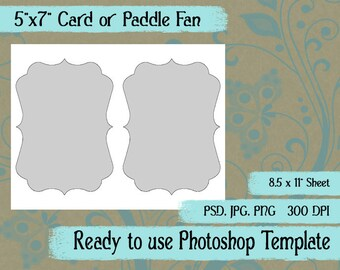 Scrapbook Digital Collage Photoshop Template, A7 Card, Paddle Fan