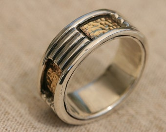 Wedding Rings, Men and Women Silver Ring , Silver and yellow gold  Ring, Unisex Ring, Handmade Ring,Silver Jewelry