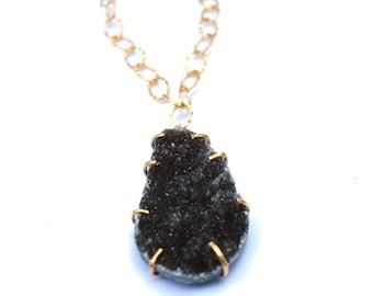 Black Druzy Pendant Necklace