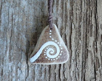 Beach Pottery Necklace - Swirl, Wave, Spiral, Dots, Harmony, Energy, Life