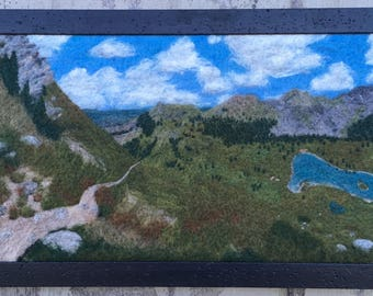 Descent to Taylor Lake - Felted wool landscape from Colorado Trail