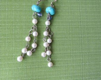 Long dangle earring turquoise color and pearls