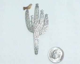 Vintage James Avery 14kt Gold Sterling Silver Southwest Saguaro Cactus Bird Brooch Pin Retired Design Big Large Statement Marked JA Ster 14K