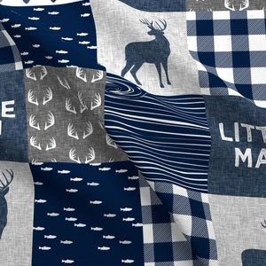 Little Man Quilt Fabric - Little Man - Navy And Grey (Buck) Quilt Woodland By Littlearrowdesign - Cotton Fabric By The Yard With Spoonflower