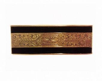 Vintage Bar Brooch Art Deco Bar Pin Black Gold