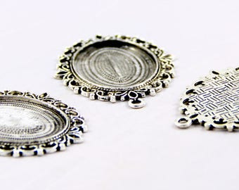 1 support 30 / 40mm antique silver oval Locket