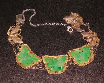 Sterling silver linked bracelet with carved jade butterflies inserts