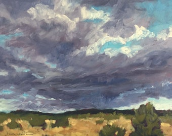 Afternoon Clouds Welcome Me Home - New Mexico - Original Oil Landscape Painting