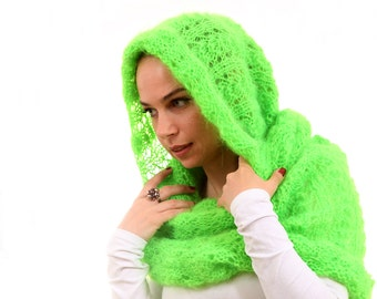 Neon Green Scarf Hand Knitted, Hooded Mohair Infinity Scarf by Solandia clubbing teen Women, festival fashion, modern scarf