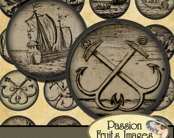 "Ancient Nautical Symbols 1"" Rounds Digital Collage Sheet--Instant Download"