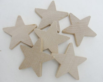 "6 Traditional 2 inch (2"") wooden stars, 2"" x 1/4"" wood star, unfinished DIY"