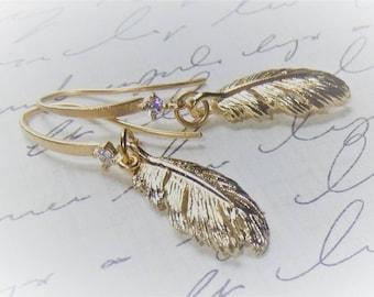 Gold Feather Earrings - Gold Dangles - Elegant Minimilist Earrings
